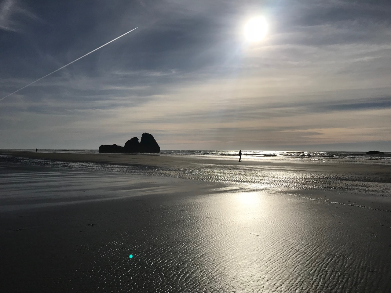 The North Beach of the Washington Coast, Copalis Rock at low tide with contrail